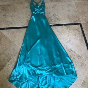Tiffany blue floor length gown